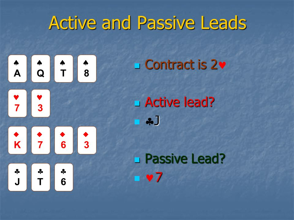 Active and Passive Leads Contract is 2 Contract is 2 Active lead.