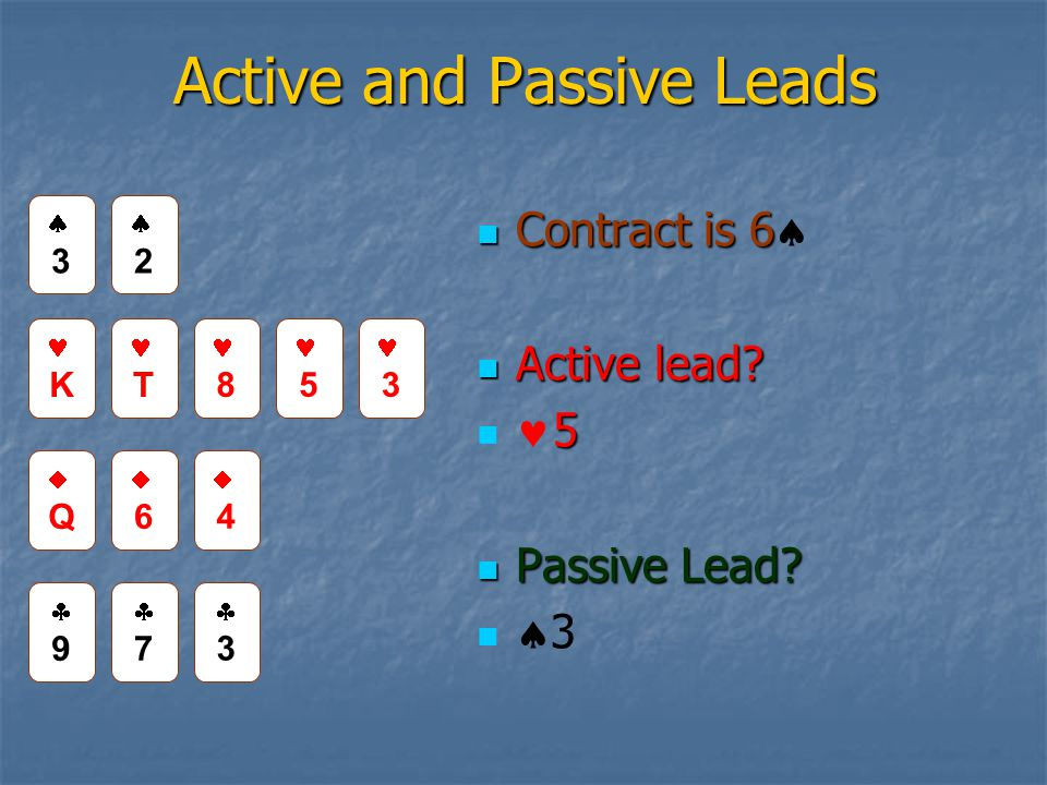 Active and Passive Leads Contract is 6 Contract is 6 Active lead.