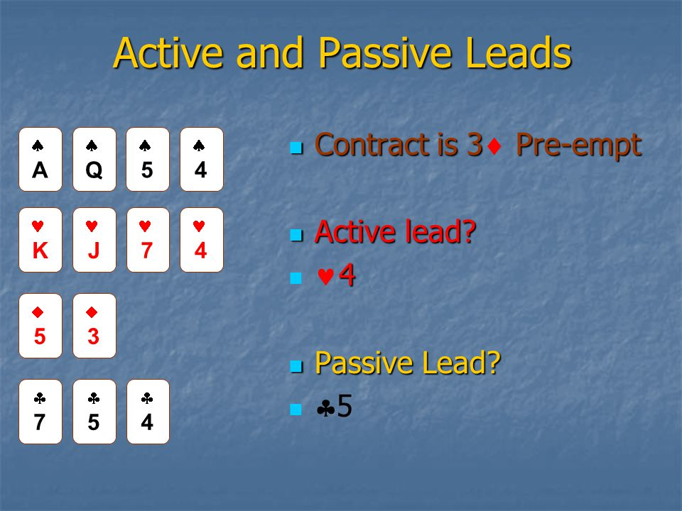Active and Passive Leads Contract is 3 Pre-empt Contract is 3 Pre-empt Active lead.