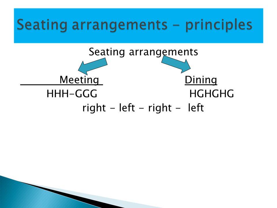 Seating arrangements Meeting Dining HHH-GGG HGHGHG right - left - right - left