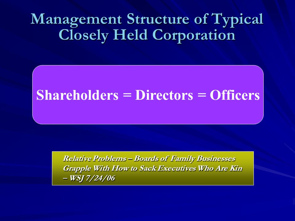 Management Structure of Typical Closely Held Corporation Shareholders = Directors = Officers Relative Problems – Boards of Family Businesses Grapple With How to Sack Executives Who Are Kin – WSJ 7/24/06