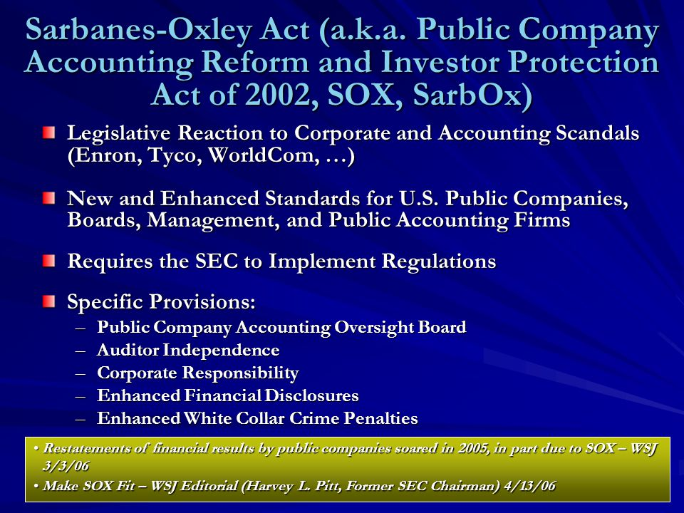 Sarbanes-Oxley Act (a.k.a.