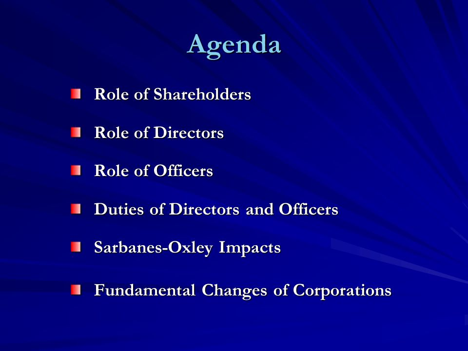 Officers Selection and Removal (Exception: Employment Contract) Role /Agents of the Corporation Authority Set and Delegated by Directors (Via By-Law or Board Resolution) Authority Impacts = f (Actual Express Authority [Articles, By-Laws, Board Resolution], Implied Authority, Apparent Authority, Ratification)