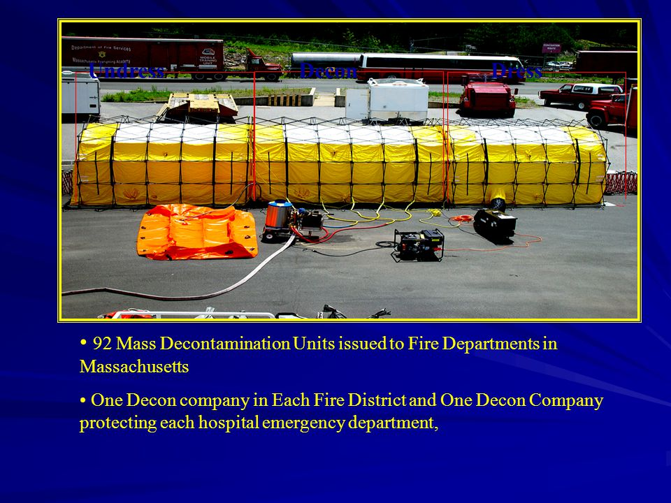 UndressDeconDress 92 Mass Decontamination Units issued to Fire Departments in Massachusetts One Decon company in Each Fire District and One Decon Company protecting each hospital emergency department,