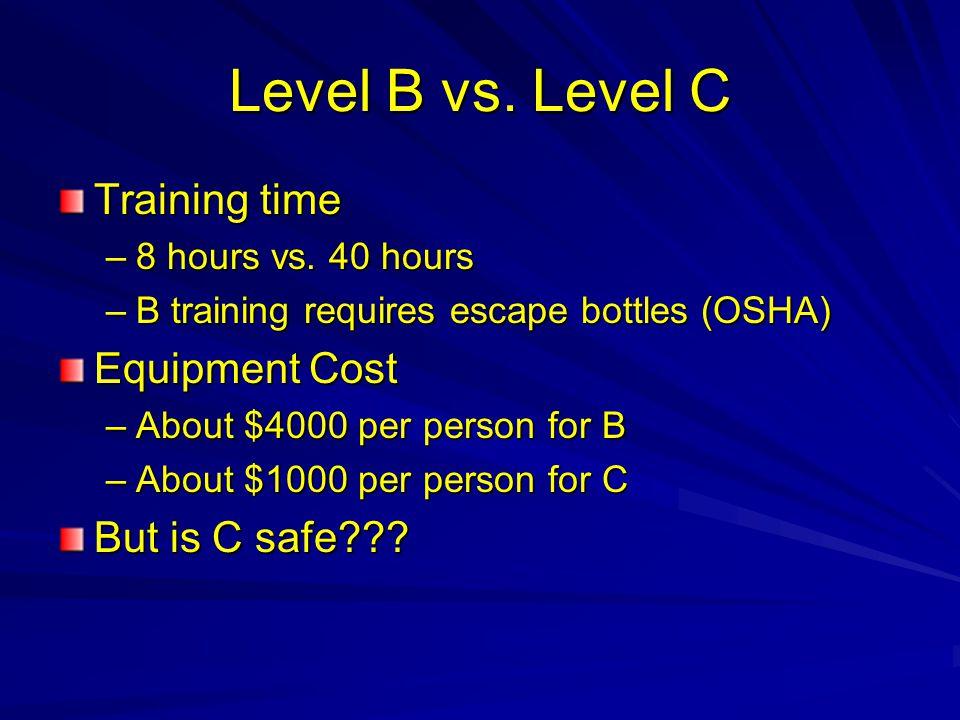 Level B vs.Level C Training time –8 hours vs.