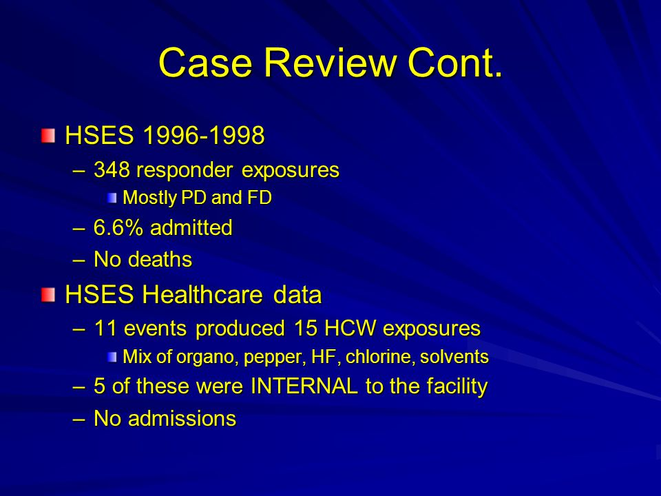 Case Review Cont. HSES 1996-1998 –348 responder exposures Mostly PD and FD –6.6% admitted –No deaths HSES Healthcare data –11 events produced 15 HCW e