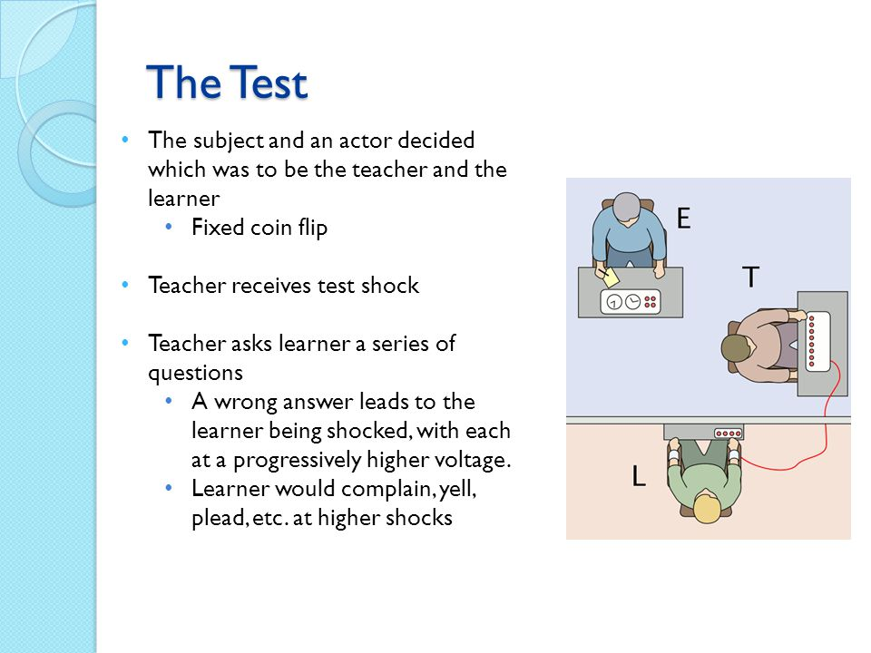 The subject and an actor decided which was to be the teacher and the learner Fixed coin flip Teacher receives test shock Teacher asks learner a series