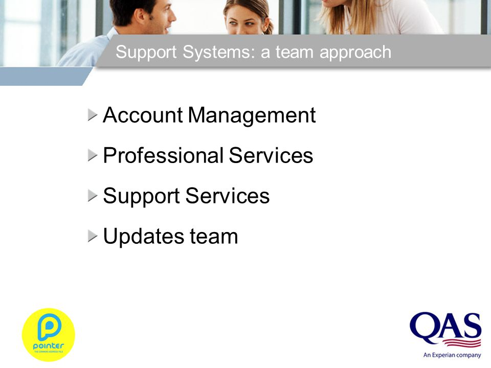 Support Systems: a team approach Account Management Professional Services Support Services Updates team