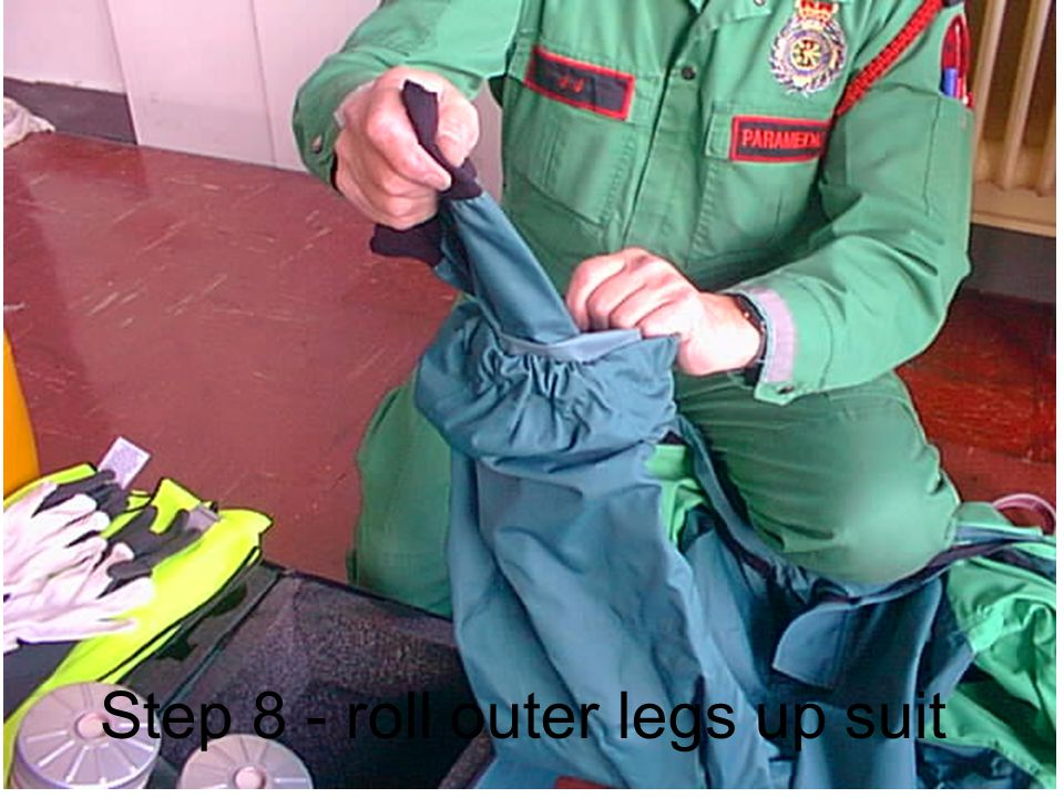 Step 8 - roll outer legs up suit