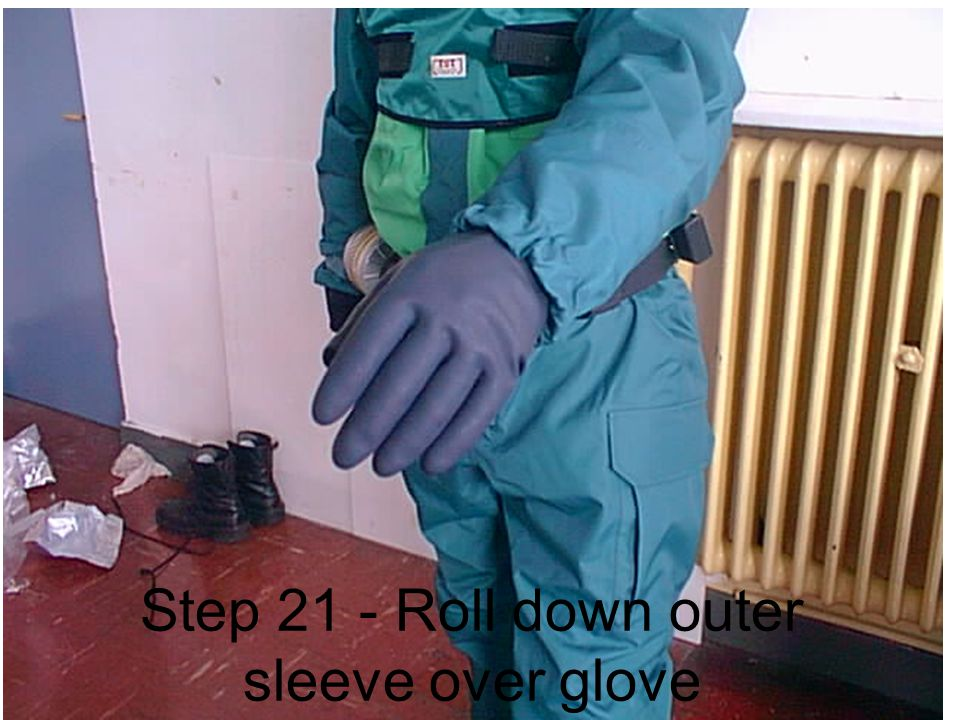 Step 21 - Roll down outer sleeve over glove