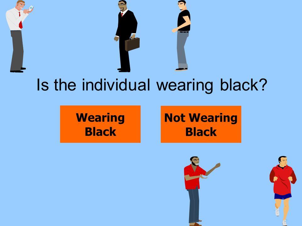 Is the individual wearing black? Wearing Black Not Wearing Black