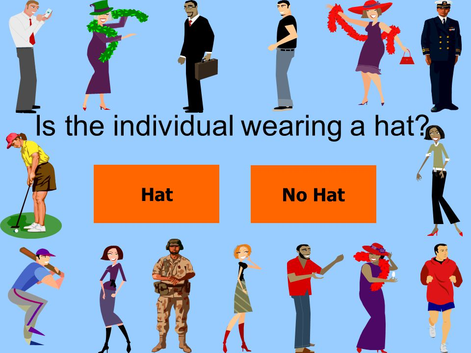 Is the individual wearing a hat? Hat No Hat