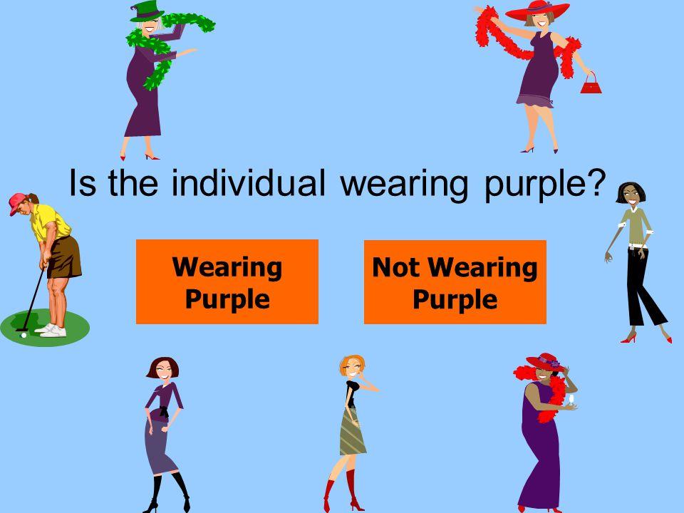 Is the individual wearing purple? Wearing Purple Not Wearing Purple
