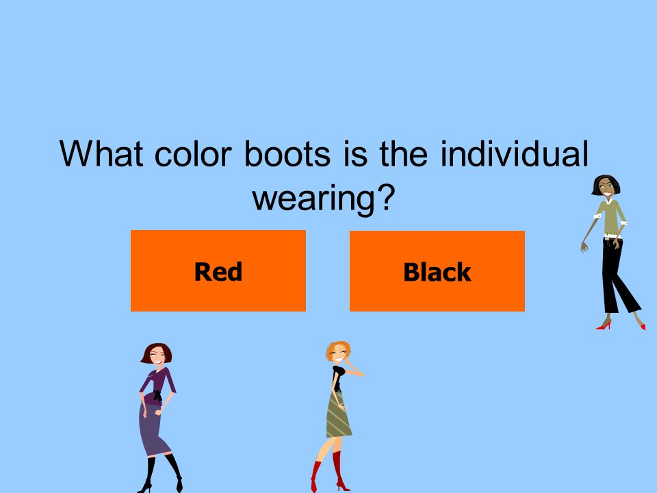 What color boots is the individual wearing? Red Black