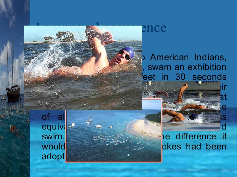 Early long distance swims in the United States Ten miles in the Delaware River was first swum in August of 1875 by JB Johnson in another Championship of America.