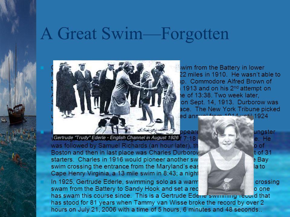 Swimming Stroke improvement Year/StrokeSwimmer/location100yd time 1865/BreastBoys school/Eton1:25 1884/sideMagee/Harlem River1:21.5 1887/sideH. Braun/