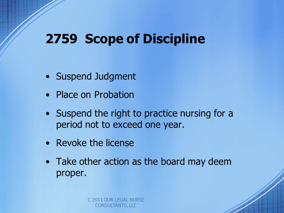 Suspend Judgment Place on Probation Suspend the right to practice nursing for a period not to exceed one year.