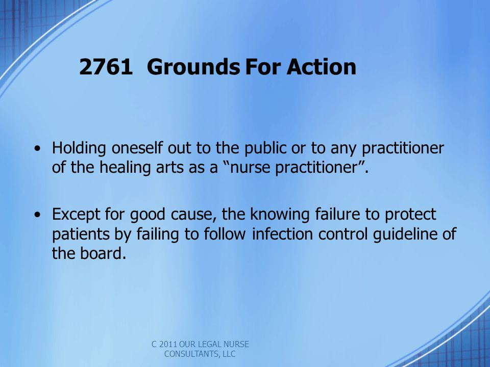 Holding oneself out to the public or to any practitioner of the healing arts as a nurse practitioner.