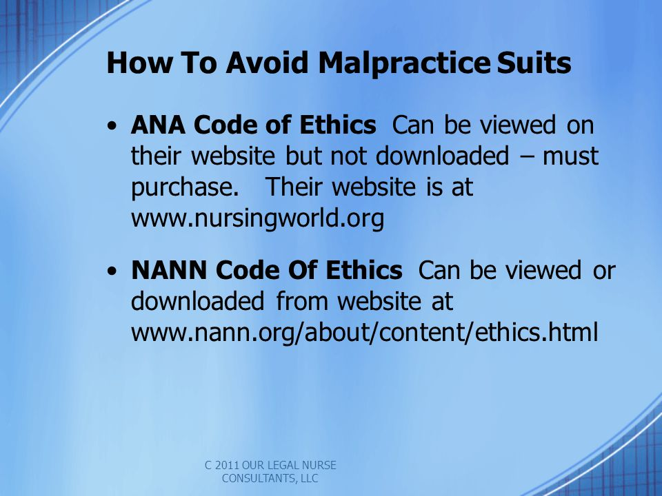 ANA Code of Ethics Can be viewed on their website but not downloaded – must purchase.