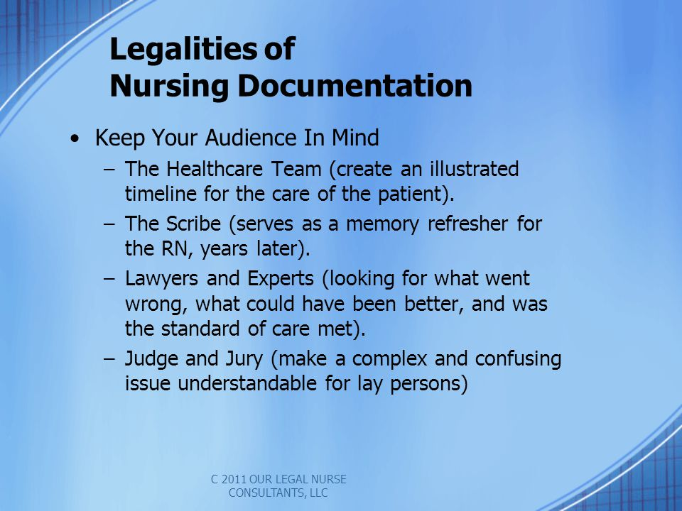Legalities of Nursing Documentation Keep Your Audience In Mind –The Healthcare Team (create an illustrated timeline for the care of the patient).