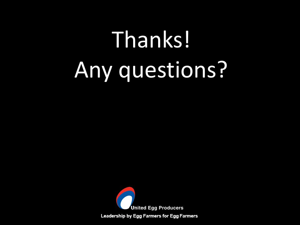 Leadership by Egg Farmers for Egg Farmers Thanks! Any questions?