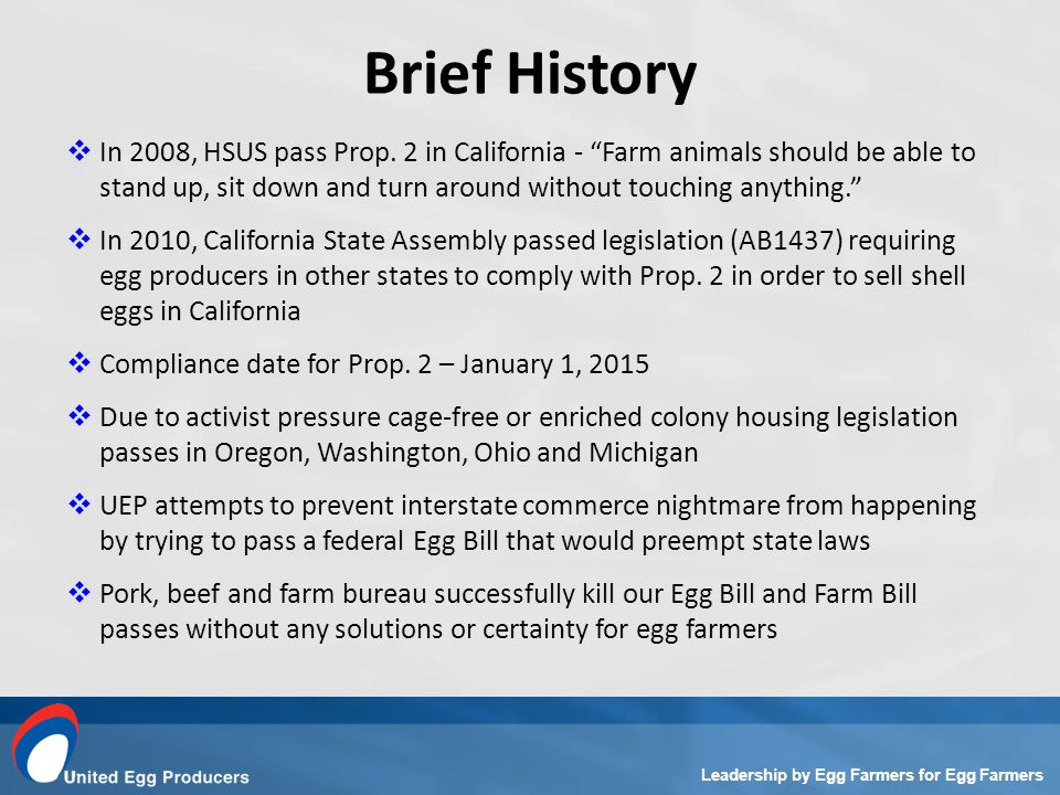 Leadership by Egg Farmers for Egg Farmers In 2008, HSUS pass Prop.