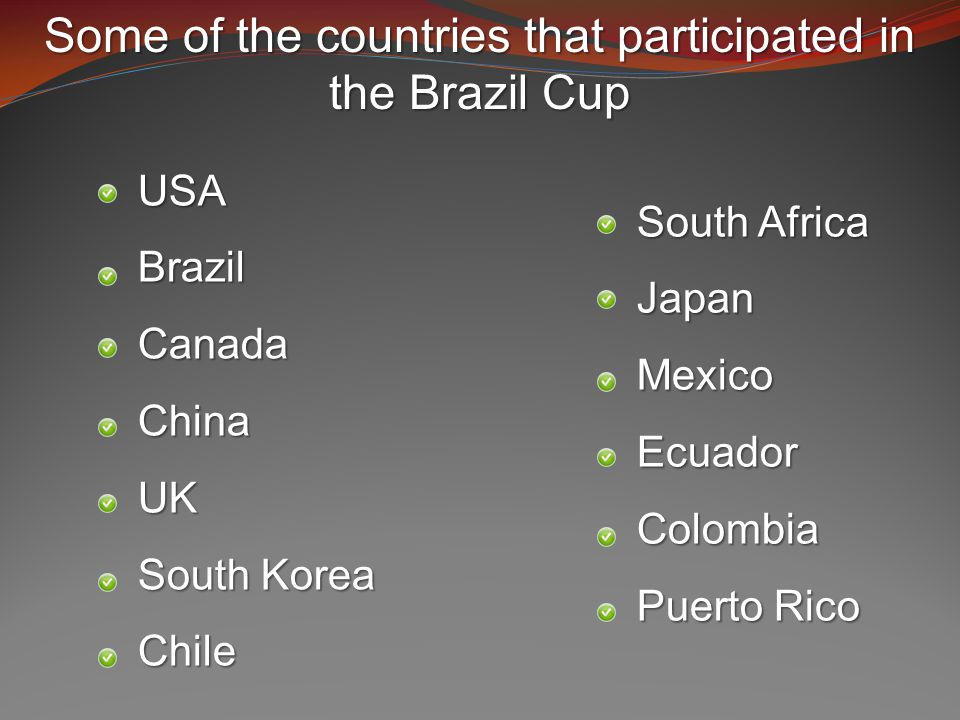 USABrazilCanadaChinaUK South Korea Chile South Africa JapanMexicoEcuadorColombia Puerto Rico Some of the countries that participated in the Brazil Cup