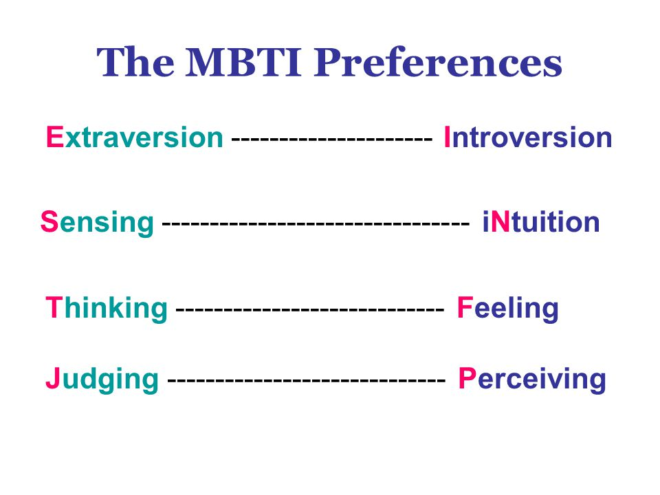 The MBTI Preferences Extraversion --------------------- Introversion Thinking ---------------------------- Feeling Judging ----------------------------- Perceiving Sensing -------------------------------- iNtuition