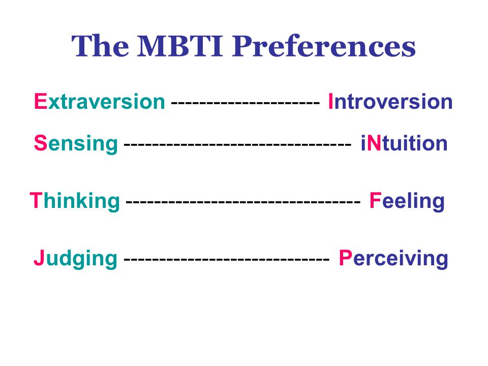 The MBTI Preferences Extraversion --------------------- Introversion Sensing -------------------------------- iNtuition Judging ----------------------------- Perceiving Thinking --------------------------------- Feeling