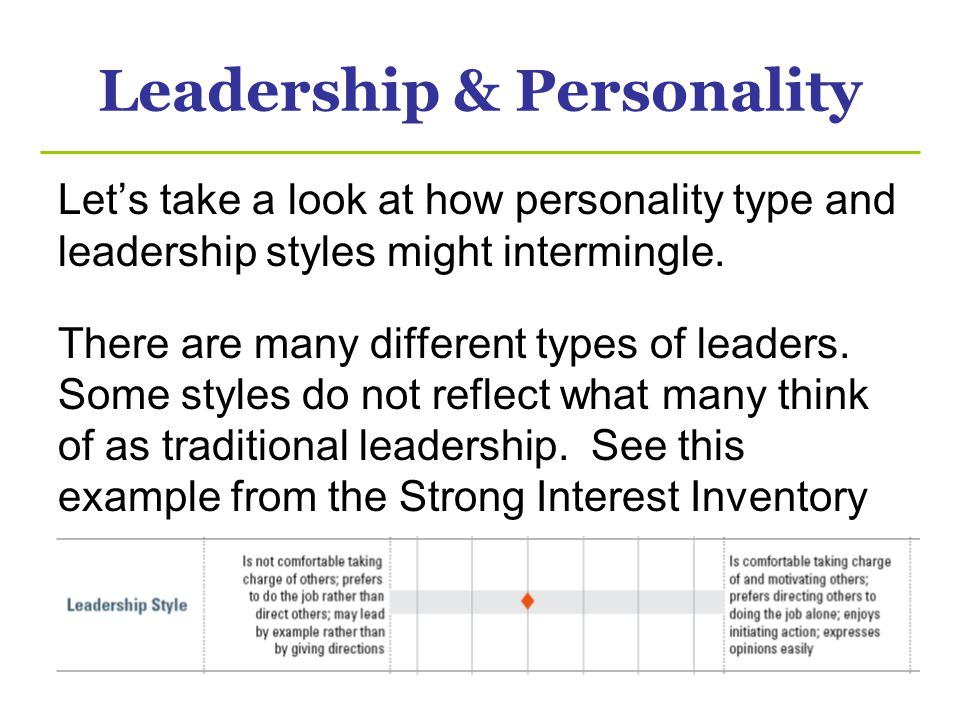 Leadership & Personality Lets take a look at how personality type and leadership styles might intermingle. There are many different types of leaders.