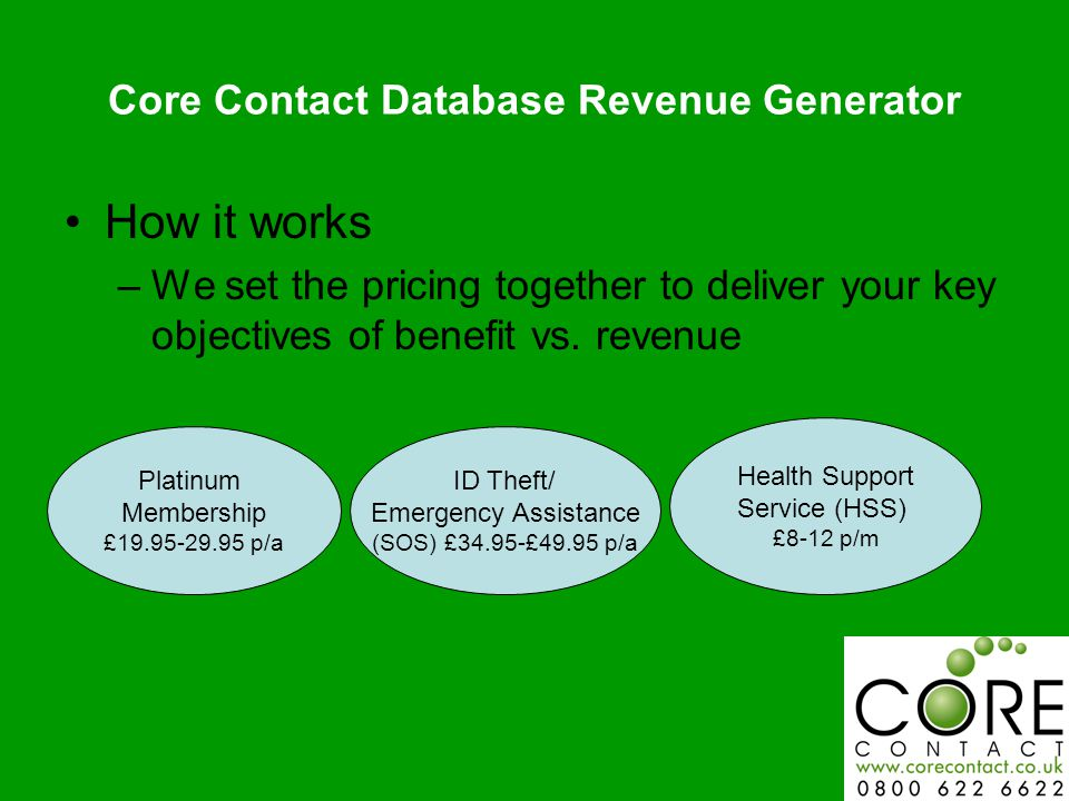 Core Contact Database Revenue Generator How it works –We set the pricing together to deliver your key objectives of benefit vs.