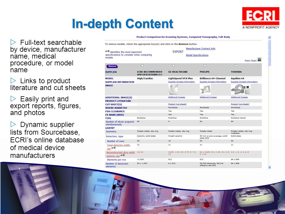 Full-text searchable by device, manufacturer name, medical procedure, or model name Links to product literature and cut sheets Easily print and export