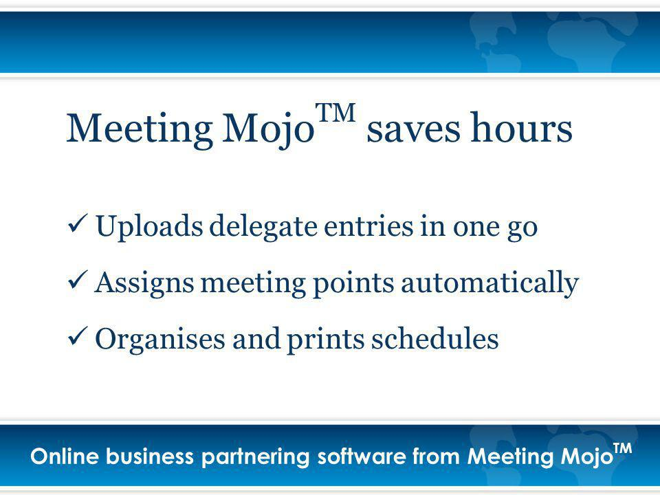 Online business partnering software from Meeting Mojo TM Meeting Mojo TM saves hours Uploads delegate entries in one go Assigns meeting points automatically Organises and prints schedules