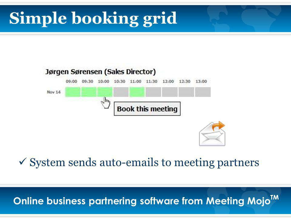 Online business partnering software from Meeting Mojo TM System sends auto-emails to meeting partners Simple booking grid