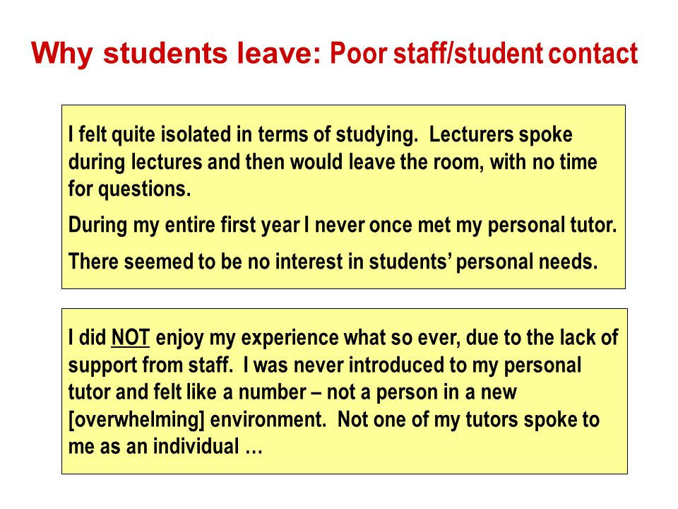 Why students leave: Poor staff/student contact I felt quite isolated in terms of studying.