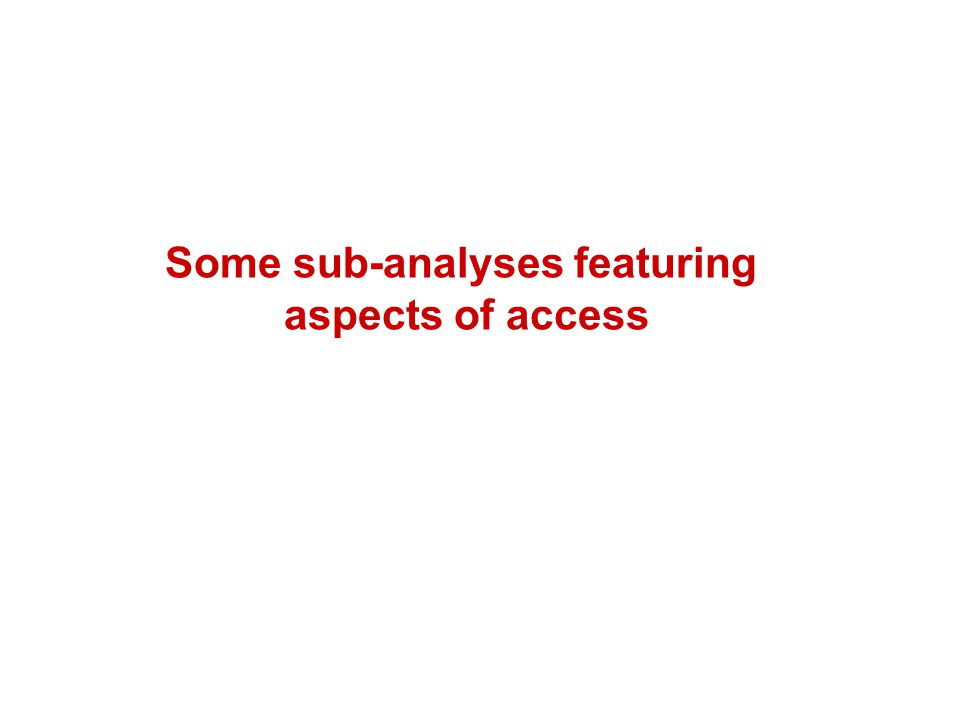 Some sub-analyses featuring aspects of access