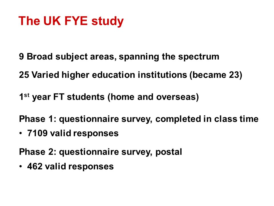 The UK FYE study 9 Broad subject areas, spanning the spectrum 25 Varied higher education institutions (became 23) 1 st year FT students (home and overseas) Phase 1: questionnaire survey, completed in class time 7109 valid responses Phase 2: questionnaire survey, postal 462 valid responses