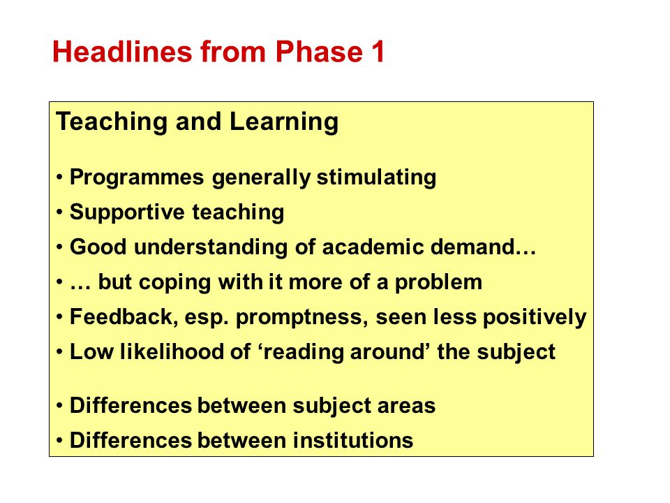 Headlines from Phase 1 Teaching and Learning Programmes generally stimulating Supportive teaching Good understanding of academic demand… … but coping with it more of a problem Feedback, esp.