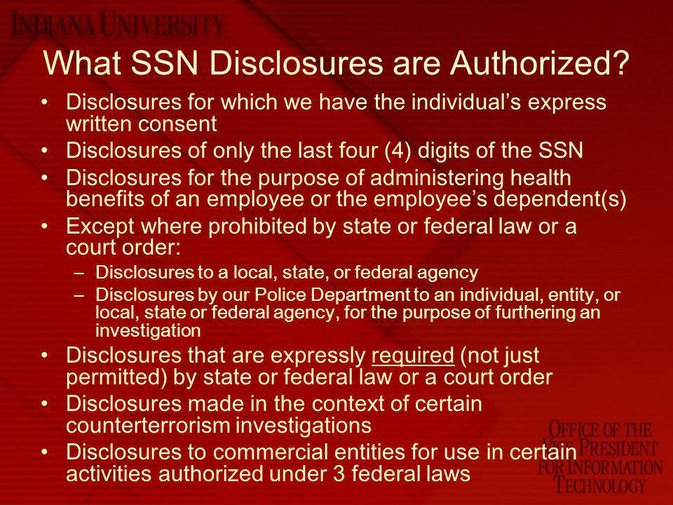 Penalties for Unauthorized Disclosures – State Agency Enforced by the State Attorney General who can bring action against Agency Possibility of civil suit filed by affected individual(s) Costs associated –Constituent trust, time and other resources needed to notify as required by the third law we are going to discuss