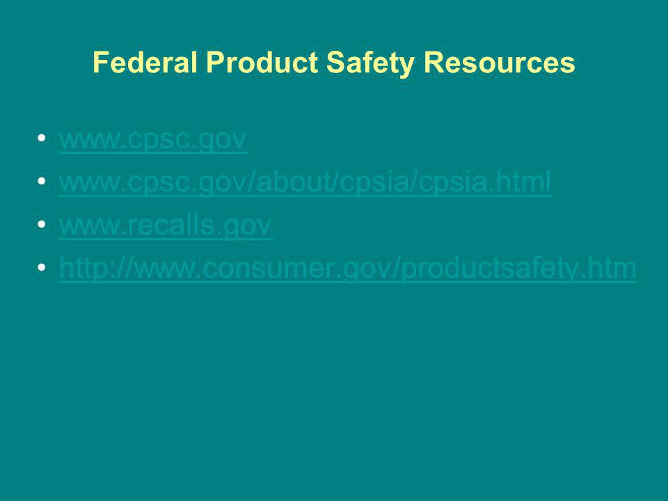 Federal Product Safety Resources