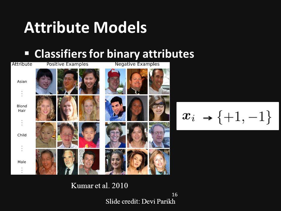 Attribute Models Classifiers for binary attributes Kumar et al. 2010 16 Slide credit: Devi Parikh