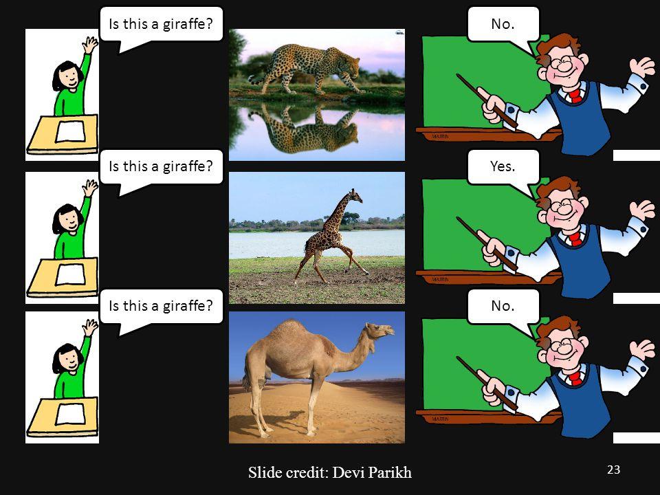 Is this a giraffe?No. Is this a giraffe?Yes.Is this a giraffe?No. 23 Slide credit: Devi Parikh