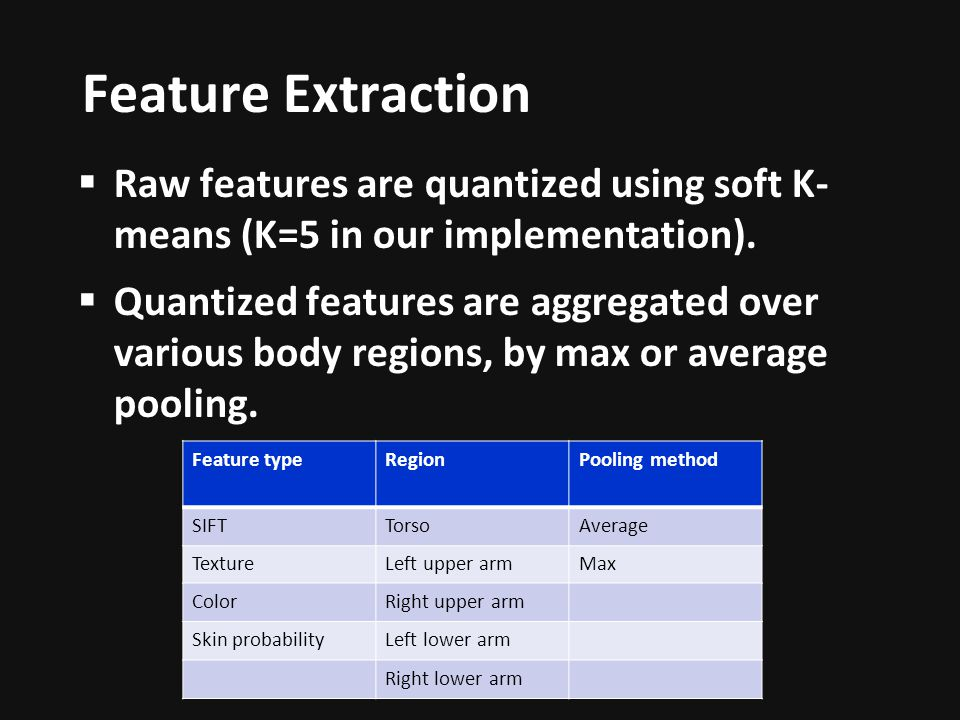 Feature Extraction Raw features are quantized using soft K- means (K=5 in our implementation).