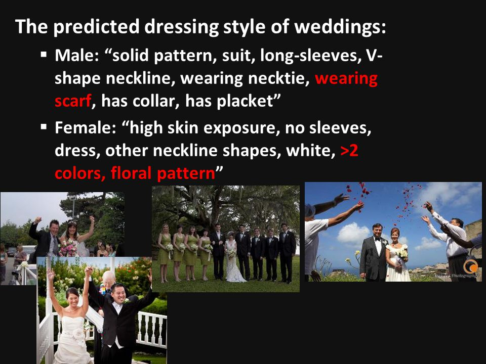 The predicted dressing style of weddings: Male: solid pattern, suit, long-sleeves, V- shape neckline, wearing necktie, wearing scarf, has collar, has placket Female: high skin exposure, no sleeves, dress, other neckline shapes, white, >2 colors, floral pattern