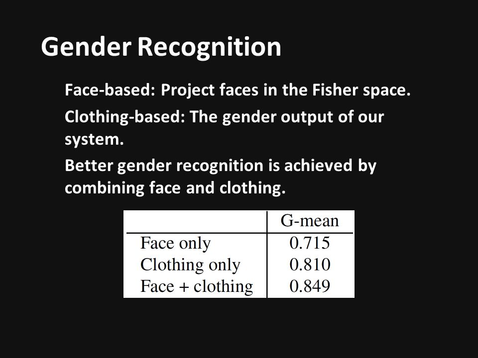 Gender Recognition Face-based: Project faces in the Fisher space.