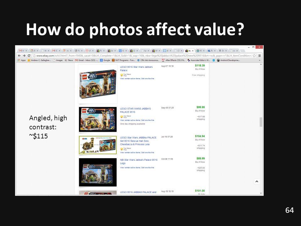 How do photos affect value? 64 Angled, high contrast: $ ~$115
