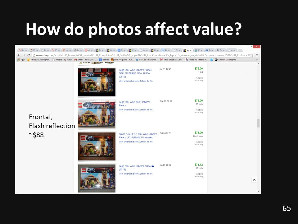 How do photos affect value? 65 Frontal, Flash reflection $ ~$88