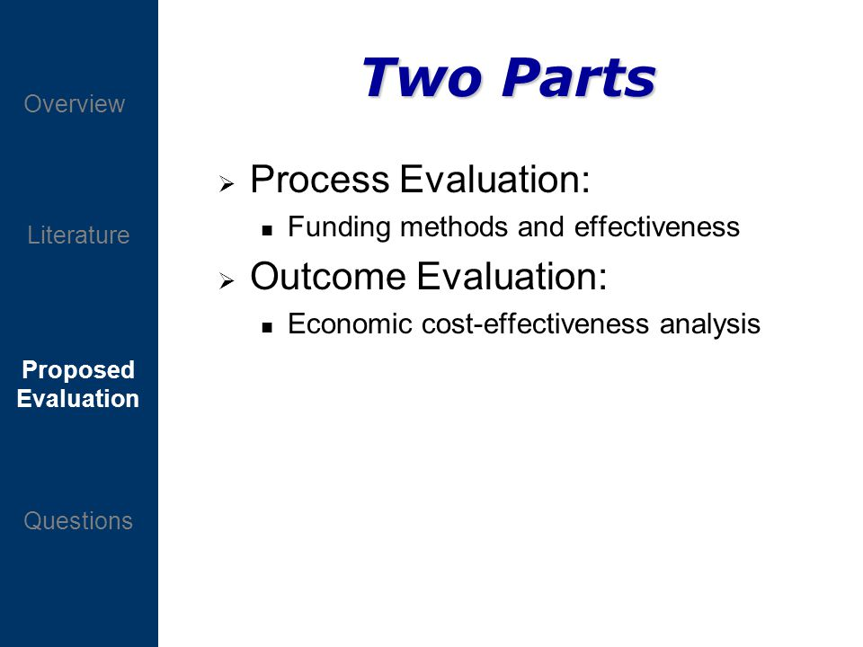 Proposed Evaluation Questions Overview Literature Two Parts Process Evaluation: n Funding methods and effectiveness Outcome Evaluation: n Economic cost-effectiveness analysis