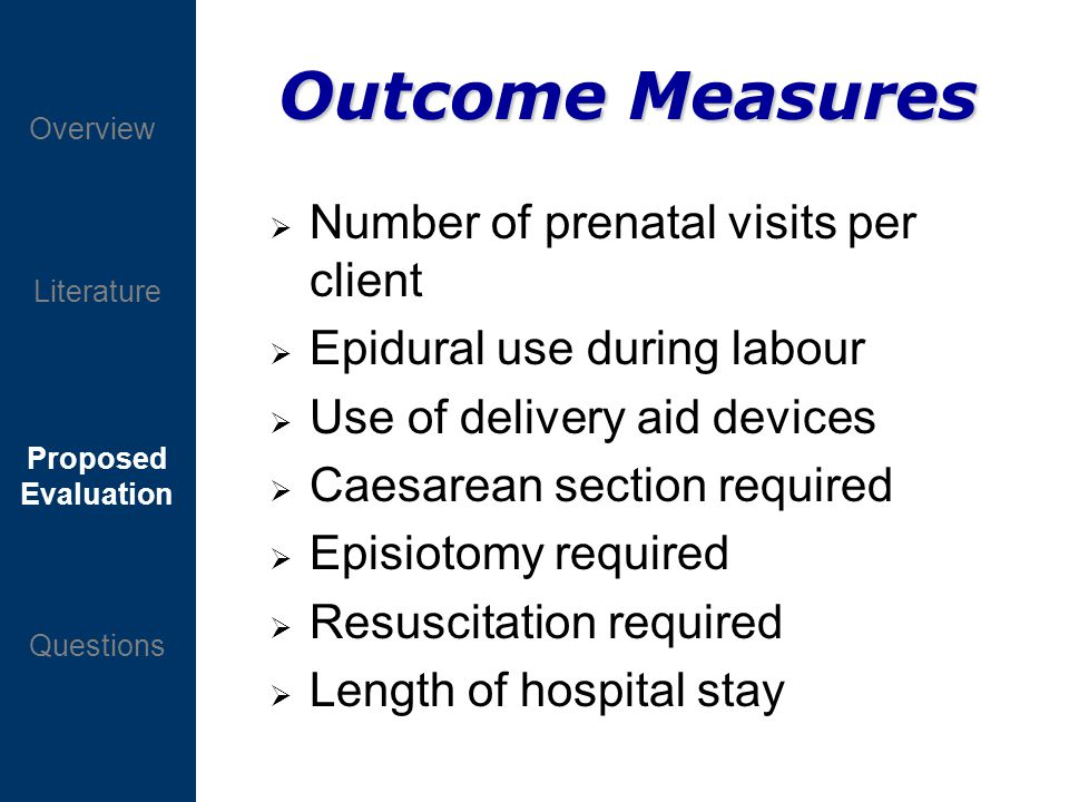 Proposed Evaluation Questions Overview Literature Outcome Measures Number of prenatal visits per client Epidural use during labour Use of delivery aid devices Caesarean section required Episiotomy required Resuscitation required Length of hospital stay