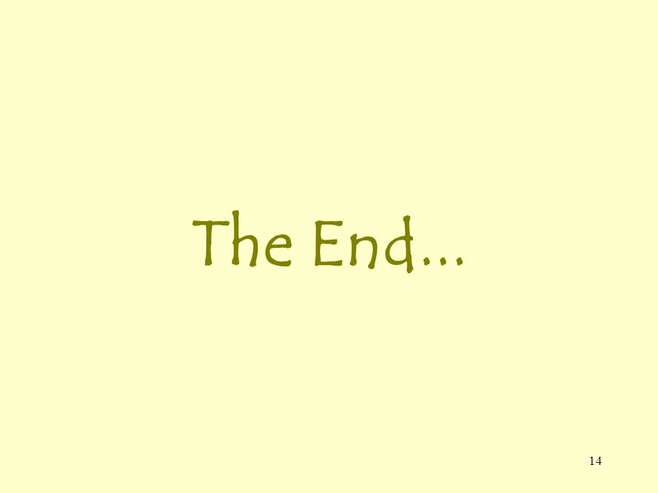 14 The End...